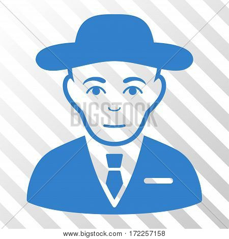 Cobalt Secret Service Agent interface pictogram. Vector pictogram style is a flat symbol on diagonally hatched transparent background.