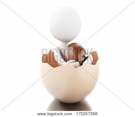 3D White People With Easter Eggs.