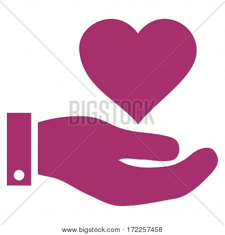 Love Heart Offer Hand flat icon. Vector purple symbol. Pictogram is isolated on a white background. Trendy flat style illustration for web site design logo ads apps user interface.
