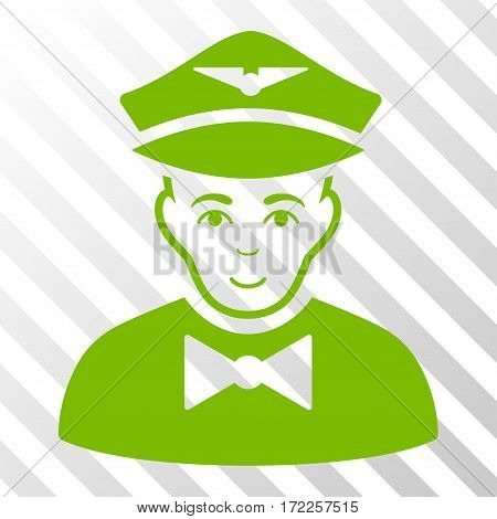 Eco Green Airline Steward interface pictogram. Vector pictogram style is a flat symbol on diagonal hatch transparent background.