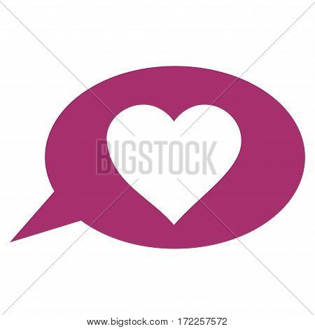 Love Message Balloon flat icon. Vector purple symbol. Pictogram is isolated on a white background. Trendy flat style illustration for web site design logo ads apps user interface.