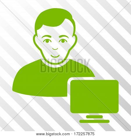 Eco Green Computer Administrator toolbar icon. Vector pictogram style is a flat symbol on diagonally hatched transparent background.
