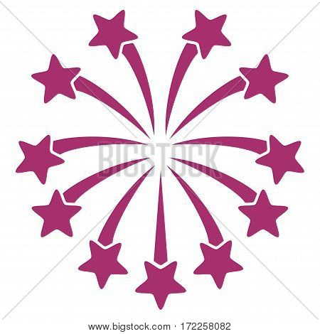 Spherical Fireworks flat icon. Vector purple symbol. Pictograph is isolated on a white background. Trendy flat style illustration for web site design logo ads apps user interface.