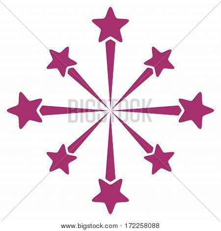 Star Burst Fireworks flat icon. Vector purple symbol. Pictogram is isolated on a white background. Trendy flat style illustration for web site design logo ads apps user interface.
