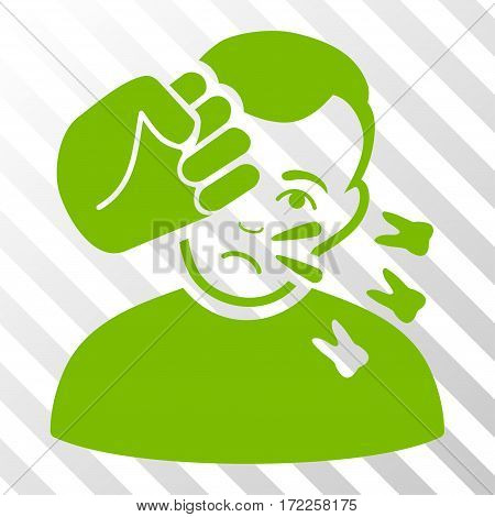 Eco Green Head Strike interface icon. Vector pictogram style is a flat symbol on diagonally hatched transparent background.