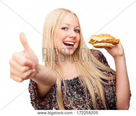 beautiful woman  with her thumb up and eating burger, isolated against white background