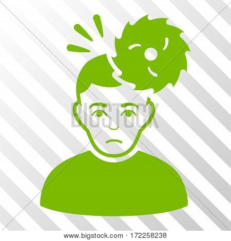 Eco Green Headache toolbar icon. Vector pictogram style is a flat symbol on diagonal hatch transparent background.
