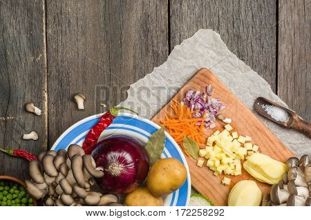 Ingredients For Vegetable Soup. Vegetables Cucumber Onions Potatoes Carrots Mushrooms