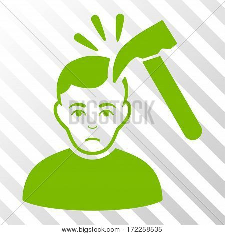 Eco Green Murder With Hammer toolbar icon. Vector pictograph style is a flat symbol on diagonal hatch transparent background.