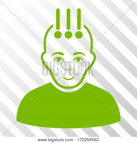 Eco Green Neural Interface interface toolbar icon. Vector pictogram style is a flat symbol on diagonal hatch transparent background.