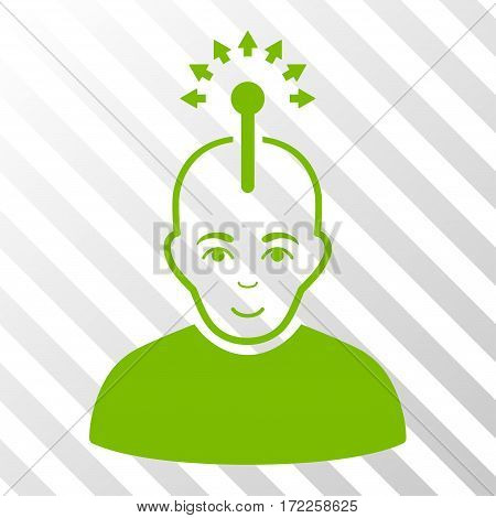 Eco Green Optical Neural Interface interface toolbar pictogram. Vector pictogram style is a flat symbol on diagonally hatched transparent background.