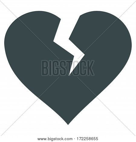 Heart Break flat icon. Vector soft blue symbol. Pictogram is isolated on a white background. Trendy flat style illustration for web site design logo ads apps user interface.