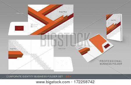 Corporate Identity Business Folder. Folder Design Template With Dicut Cutline