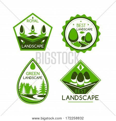 Landscape design service vector icons or emblems set. For home or garden green plants and trees architecture or environment build or horticulture and gardening company award or labels