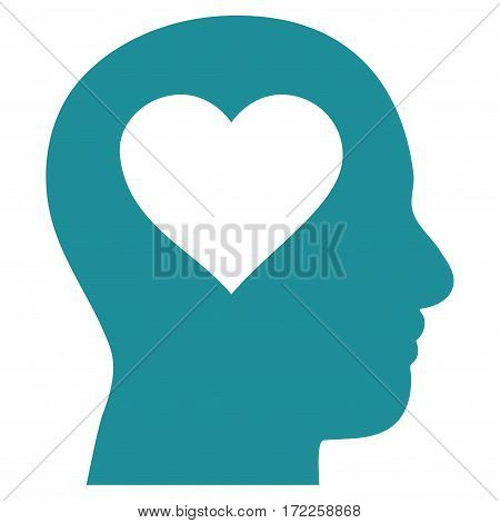 Love In Head flat icon. Vector soft blue symbol. Pictograph is isolated on a white background. Trendy flat style illustration for web site design logo ads apps user interface.