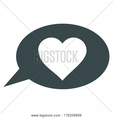 Love Message Balloon flat icon. Vector soft blue symbol. Pictograph is isolated on a white background. Trendy flat style illustration for web site design logo ads apps user interface.
