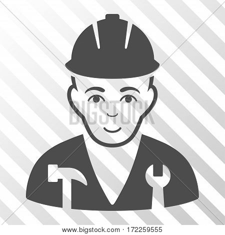Gray Serviceman interface toolbar icon. Vector pictogram style is a flat symbol on diagonally hatched transparent background.