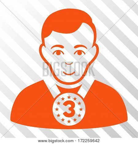 Orange 3rd Prizer Sportsman interface toolbar pictogram. Vector pictograph style is a flat symbol on diagonally hatched transparent background.