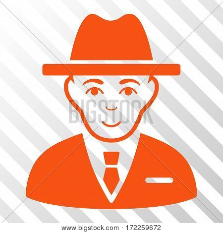 Orange Agent toolbar icon. Vector pictograph style is a flat symbol on diagonal hatch transparent background.