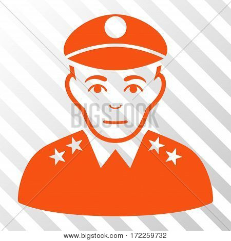 Orange Army General interface pictogram. Vector pictogram style is a flat symbol on diagonally hatched transparent background.