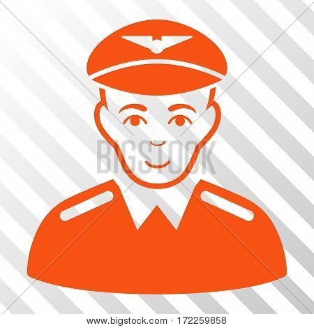 Orange Aviator toolbar pictogram. Vector pictograph style is a flat symbol on diagonally hatched transparent background.