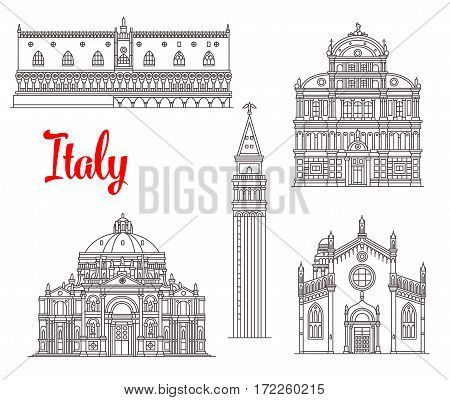Italian historic buildings and Venice sightseeing. Vector thin line Palazzo Ducale or Doge Palace, San Zaccaria and Madonna dell Orto church, St Mark Campanile tower, Mary of Health basilica
