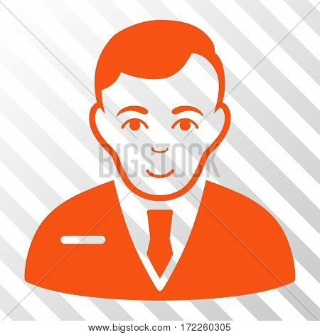 Orange Businessman interface icon. Vector pictogram style is a flat symbol on diagonal hatch transparent background.