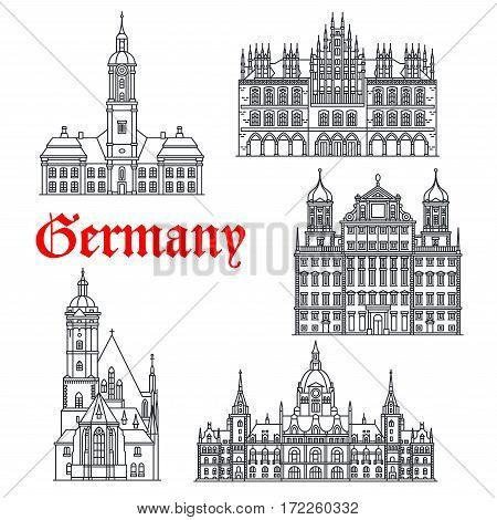 German historic buildings and landmarks. Vector Tomaskirche church, Rathaus of Augsburg, Birnau or Wallfahrtskirche basilica, old City Hall and new Town Hall in Hannover thin line icons