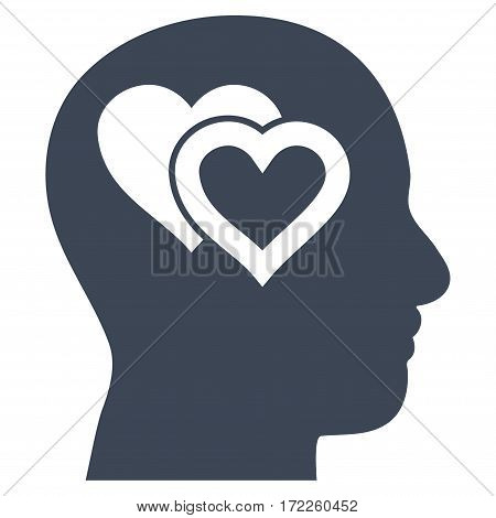 Love In Mind flat icon. Vector smooth blue symbol. Pictogram is isolated on a white background. Trendy flat style illustration for web site design logo ads apps user interface.