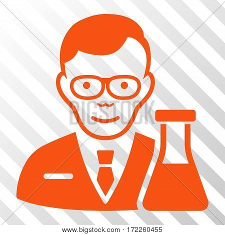 Orange Chemist interface toolbar icon. Vector pictogram style is a flat symbol on diagonal hatch transparent background.