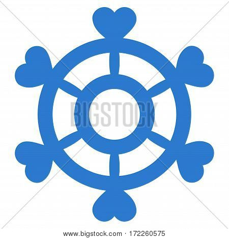 Lovely Boat Steering Wheel flat icon. Vector smooth blue symbol. Pictogram is isolated on a white background. Trendy flat style illustration for web site design logo ads apps user interface.