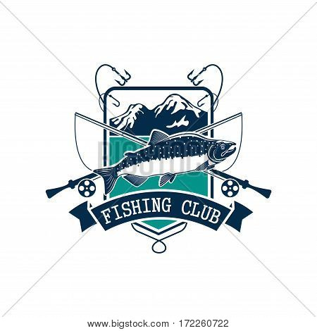 Fishing emblem or fisher club icon of pink or humpback salmon catch on hook, fish rod and float with bait lure. Badge with mountain lake and ribbon for fishery industry and fisherman sport adventure