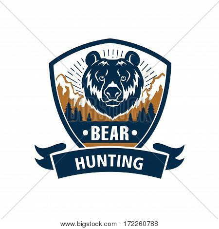 Hunting club emblem with grizzly bear muzzle. Hunter wildlife adventure vector isolated blue icon and ribbon with wild roaring predatory animal and nature
