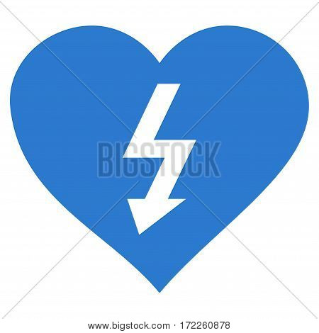 Power Love Heart flat icon. Vector smooth blue symbol. Pictogram is isolated on a white background. Trendy flat style illustration for web site design logo ads apps user interface.