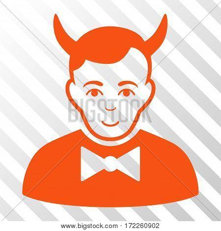 Orange Devil interface toolbar pictogram. Vector pictogram style is a flat symbol on diagonal hatch transparent background. poster