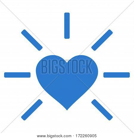 Shiny Love Heart flat icon. Vector smooth blue symbol. Pictograph is isolated on a white background. Trendy flat style illustration for web site design logo ads apps user interface.