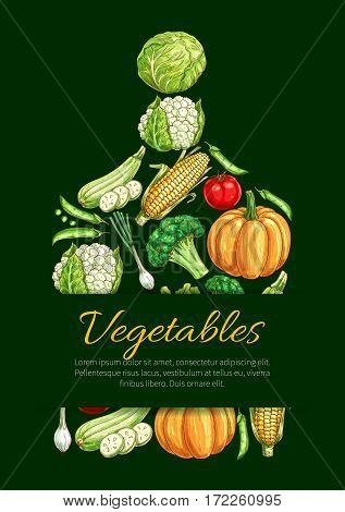 Vegetable cutting board vector poster of cauliflower, broccoli and chili pepper, tomato, zucchini and beet, pumpkin, corn and garlic, onion leek and radish. Vegetarian farm food organic veggies