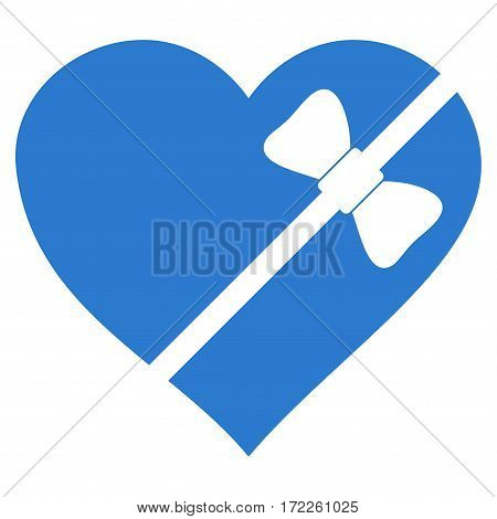 Tied Love Heart flat icon. Vector smooth blue symbol. Pictogram is isolated on a white background. Trendy flat style illustration for web site design logo ads apps user interface.