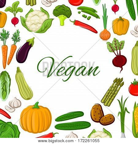 Vegetables vector poster of cauliflower and broccoli, bell or chili pepper, tomato and zucchini, beet, pumpkin and corn, asparagus, potato and eggplant, onion leek and pea. Vegetarian farm food