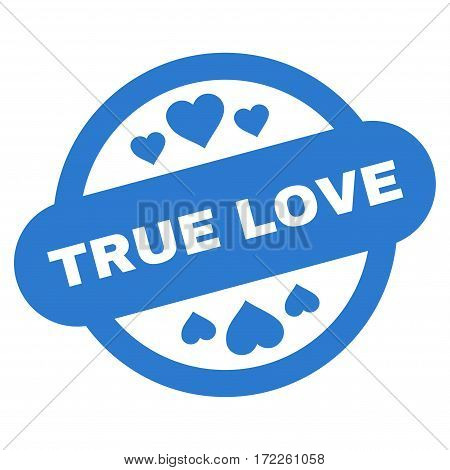 True Love Stamp Seal flat icon. Vector smooth blue symbol. Pictogram is isolated on a white background. Trendy flat style illustration for web site design logo ads apps user interface.