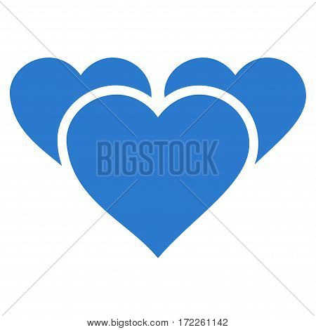 Valentine Hearts flat icon. Vector smooth blue symbol. Pictograph is isolated on a white background. Trendy flat style illustration for web site design logo ads apps user interface.