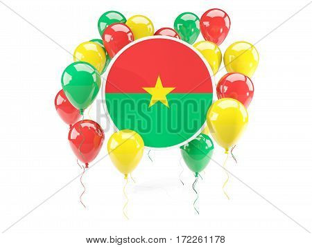 Round Flag Of Burkina Faso With Balloons