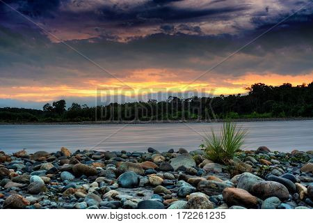 Colorful long exposure of sunrise in Amazon