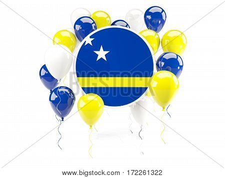 Round Flag Of Curacao With Balloons