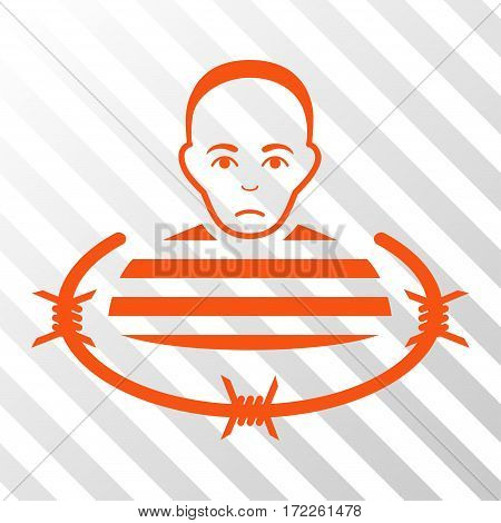 Orange Isolated Prisoner interface toolbar pictogram. Vector pictogram style is a flat symbol on diagonally hatched transparent background.