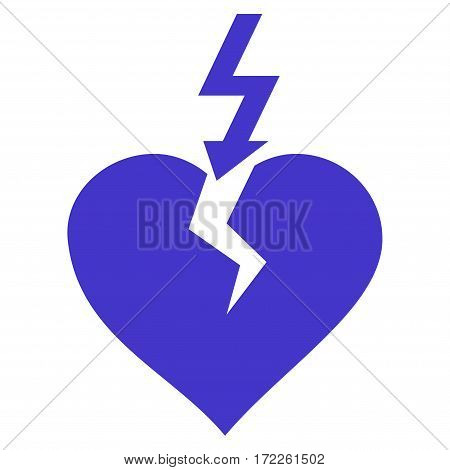 Break Heart flat icon. Vector violet symbol. Pictogram is isolated on a white background. Trendy flat style illustration for web site design logo ads apps user interface.