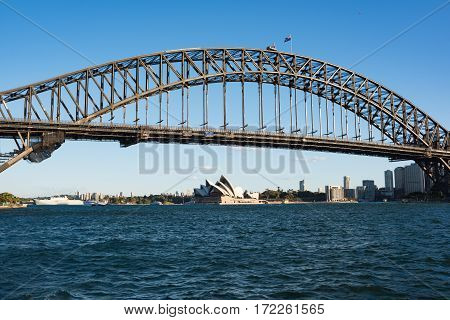 Sydney Harbour With Iconic Sydney Harbour Bridge On Sunny Day