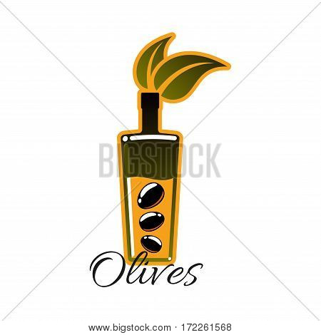 Olive oil vector icons. Isolated emblem of bottle with pomace of fresh black olives and olive-tree leaf. Symbol for olive oil product label, seasoning or dressing sauce and product package