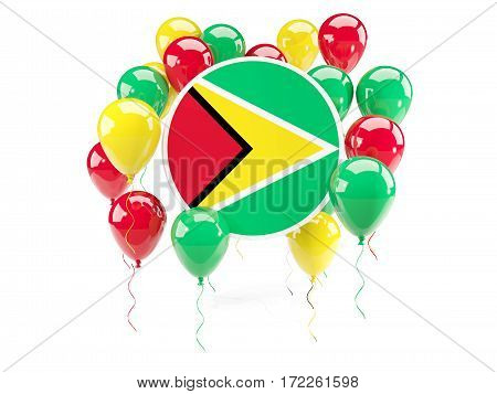 Round Flag Of Guyana With Balloons