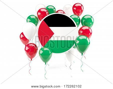 Round Flag Of Palestinian Territory With Balloons